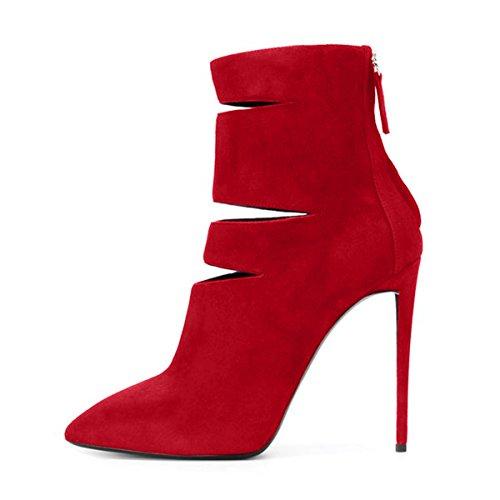 Damen Cut Out Spitze Zehen Stiletto Hoch Schmale Absatz Pumps Stiefel mit Reissverschluss Rot