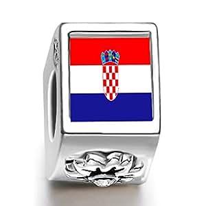 perle charm femme florale du drapeau de Croatie