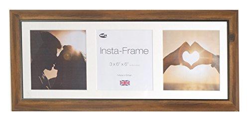 Inov8 Bilderrahmen aus Linden- / Eichenholz, Wechselrahmen, für 3quadratische Fotos, mit weißem Passepartout und weißem Hintergrund, 53x 20 cm Iphone Bilderrahmen