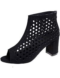Sandalias tacón alto sexy elegante mujer,❤️ Sonnena Zapatos de cuña de verano sandalias de tacón alto Pez boca abierta fondo plano boca Zapatos Zapatos con cremallera hueca