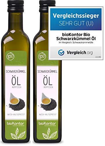 bioKontor // BIO Schwarzkümmelöl ägyptisch - nativ, kaltgepresst, 100{54b472dafe50c501f9c808ce3987ef3b063d409e2b255d2f77e55d0a729b6c45} rein - 1000 ml (2x500 ml)