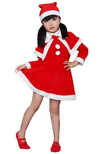 Kobold Kleiner Kostüm Mädchen - Inception Pro Infinite (Größe 110 - 2-3 Jahre) Kostüm Weihnachtsmann Kleines Mädchen Kobold Verkleidung Karneval Halloween Cosplay Rot und Weiß Kleid + Cape Hut Party Urlaub