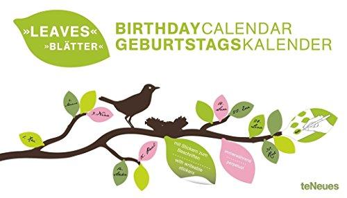 Blätter - immerwährender Geburtstagskalender  -  42 x 24 cm