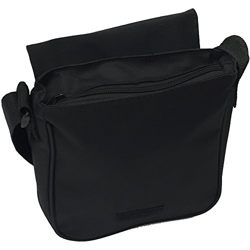 Elegante cavallo marrone piccolo nero Tela Borsa a tracolla, taglia S Young Brown Horse In Field