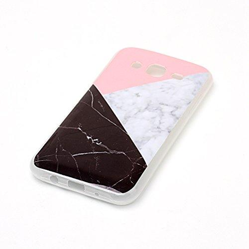 Coque Huawei P8 Lite (5,0 Pouces), Meet de Téléphone Case (Design marbre) Slim TPU Silicone Case Cover Housse Etui pour Huawei P8 Lite (5,0 Pouces) - blue sea tricolore