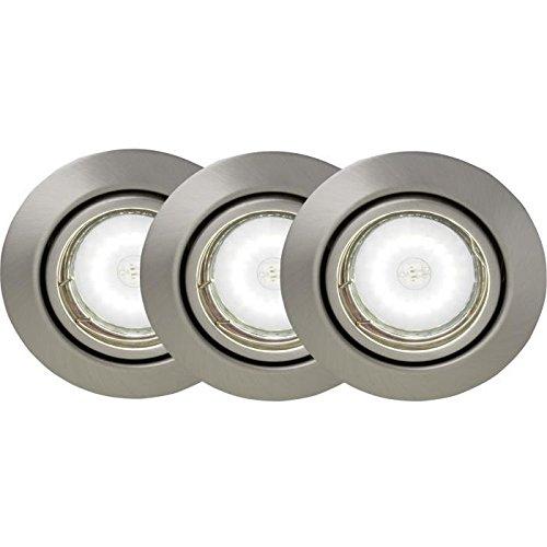 Preisvergleich Produktbild Brilliant Kit Set 3Einbauspots schwenkbar LED Honor Durchmesser 9cm GU105W Stahl