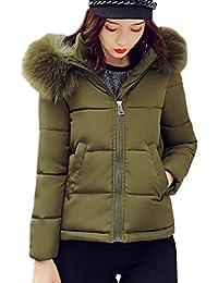K-youth® Abrigos De Mujer Invierno Plumas Espesar Cálido Invierno Abrigo Acolchado Chaquetas con Capucha de Piel Sintética
