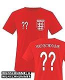 TRIKOT - WUNSCHDRUCK - Kinder T-Shirt - Rot / Weiss Gr. 98-104