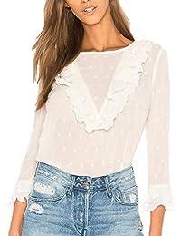 53e3577bd93 Mujer Tops Elegante Manga Larga Cuello Redondo Encaje Camisas Fiesta Moda Blusas  Primavera Ropa Vintage Camisetas