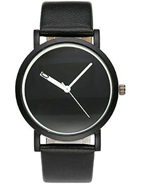 JSDDE Uhren,Einfaches Unisex Armbanduhr Schwarz PU Lederarmband Klassische Analog Qaurz Uhr,Schwarz