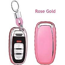 Plastica morbida di alta qualità auto chiave copertura/alloggiamento–Accessori universali, custodia morbida TPU di porta telecomando auto portachiavi con portachiavi case Fit per Audi Q5A6L A4L A5A6A7S5A8L S8S7A4auto Key Chain Holder bag, Rose Gold, L=8cm W=4cm Thickness=1.7cm