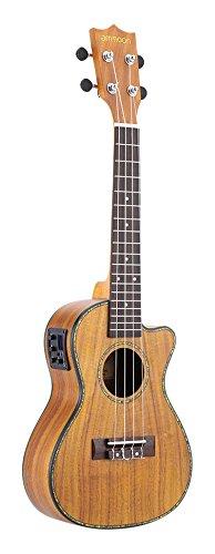 ammoon 24' Cutaway Ukulele Hawaii chitarra con LED EQ Koa compensato Cowry Shell falde bue osso sella 4 stringhe strumento regalo presente