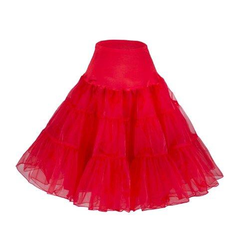 Fiona Frauen 50er Jahre Rock Kleid, 65cm Länge, Rottöne, XS-M