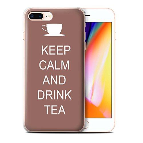 Stuff4 Hülle / Case für Apple iPhone 8 Plus / Schnurrbart/Braun Muster / Bleib Ruhig Kollektion Tee Trinken/Braun