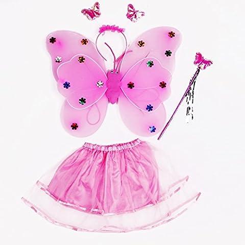 Zhengdu Vestir Traje para las muchachas - rosa de la mariposa Alas de hadas, Tutú, Varita mágica y diadema conjunto de traje de hada de 3-8 años (rosa)
