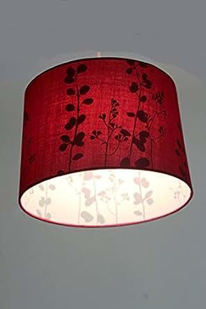 §§ Lustre, Suspension MODERNE Abat Jour en Rouge Foncé 'Vin Rouge' avec doublage avec motifs. Cordon électrique fourni