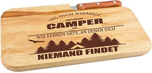 Beschdstoff/Schneidebrett mit Messer und Branding/Camping/Größe 26 x 15 x 12 cm Holz Brettchen (Camping Holz)