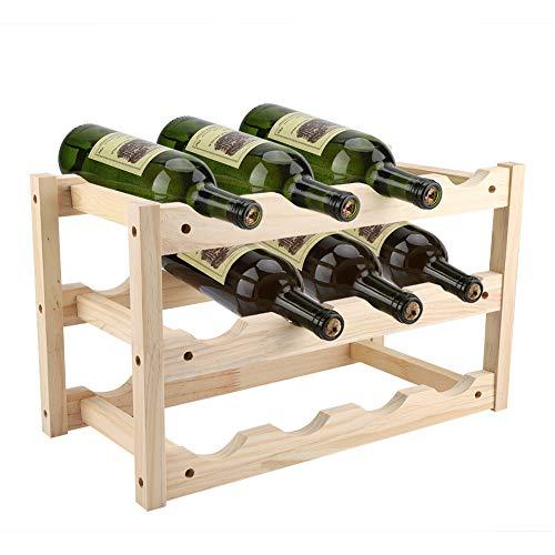 Weinregal, 3 Ebenen Weinhalter Flaschenständer Weinflaschenhalter Weinständer aus Holz, Flaschenregal für 12 Flaschen, Anzug für Haus, Bar und Weinhandlung, 46 * 24,5 * 28 cm