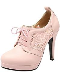 a58508af93ceba YE Damen Cut Out Pumps Stiletto Geschlossene High Heels mit Spitze und  Schnürung Elegant Kleid Schuhe