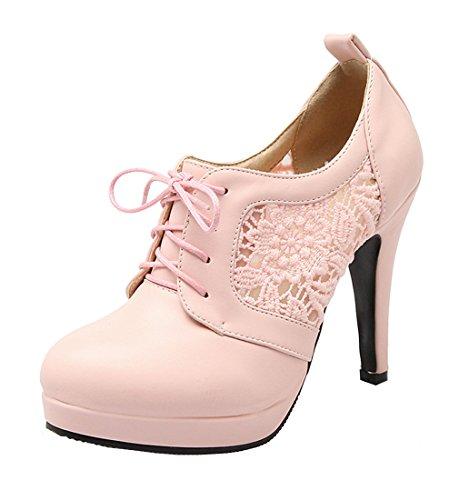 YE Damen Cut Out Pumps Stiletto Geschlossene High Heels mit Spitze und Schnürung Elegant Kleid Schuhe