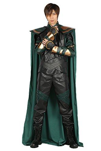 Nexthops Loki Kostüm Herren Costume Cosplay Leder 5er Set Deluxe Slim Fit Suit für Halloween, Party, Karneval und Fasching Jacke, Hosen, Umhang, Schlterrüstung und Gürtel (Loki Kostüm Frauen)