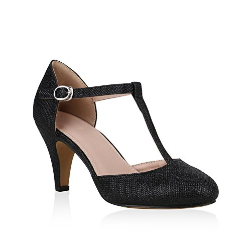 Stiefelparadies Damen Pumps Mary Janes Glitzer T-Strap High Heels Party Schuhe Schwarz Glitzer 39 Flandell