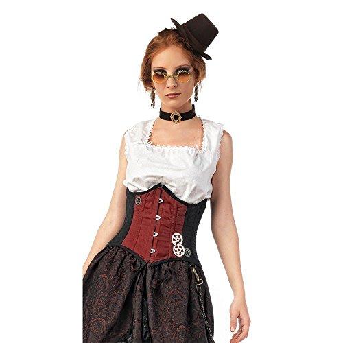 Steampunk corsetto rosso nero rosso/nero