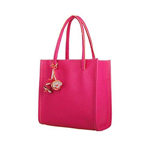 Damen Handtasche Frauen PU Leder Schulter Shopper Ledertaschen Hobo Taschen (Pink)