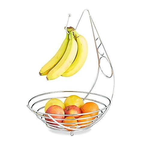 Relaxdays Obstschale mit Bananenhalter, Obstkorb verchromt, Bananenhaken, Stehend, HBT: ca. 42 x 29,5 x 32 cm,