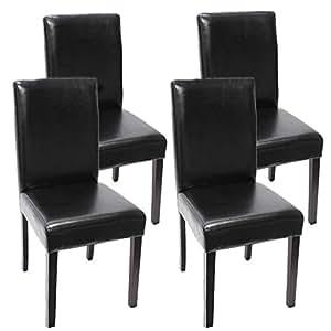 Lot de 4 chaises de séjour Littau, cuir reconstitué, noir, pieds foncés