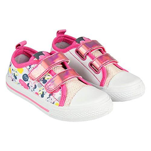 Canvas Minnie Maus Kinder Mädchen Schuhe von Disney | Ohne Saiten mit Klettverschlüsse | Weiße Pink | Größen 23 bis 30 (25 EU)