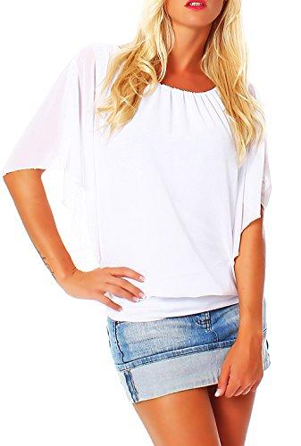 malito more than fashion Damen Bluse im Fledermaus Look | Tunika mit Rundhals und breitem Bund | Blusenshirt Kurzarm | Elegant - Shirt 6296 (weiß)