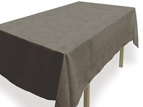 Soleil d'ocre Nappe Anti-tâches Rectangle 140x240 cm Snake Taupe Polyester, Ecru, 140 x 240 cm
