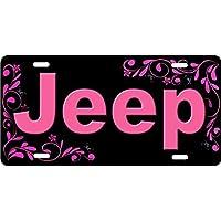JEEP in rosa personalizzato novelty Vanity frontale targa decorativa auto (Frontale Vanity)