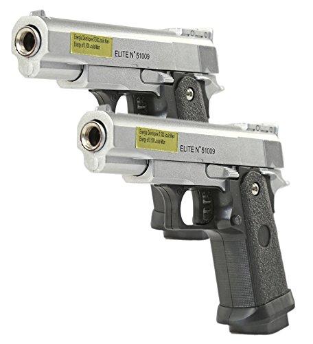 istole Vollmetall Federdruck Spielzeug-Waffe max. 0,5 Joule Set aus 2 Pistolen und 6 mm BB Airsoft Munition ()