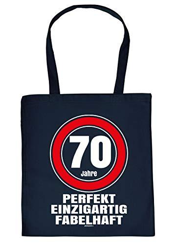 Witzige Geschenk-Tasche zum 70.Geburtstag Verpackung : 70 Jahre perfekt einzigartig fabelhaft - Stofftasche Sprüche 70 Jahre - Baumwolltasche Farbe: Navyblau