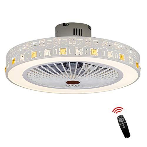 Fan ceiling light Lxn Invisibilità Soffitto Ventilatore Luce con Telecomando Moderno LED Lampadario Interna Soggiorno Creativo Soffitto Minimalista Droplight,Bianco - Diametro 56cm
