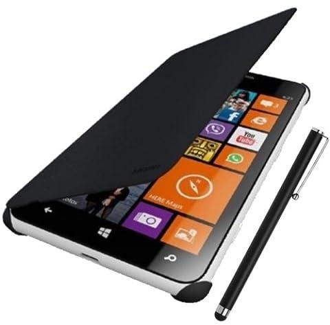 Coque Housse Etui Flip Cover noir pour NOKIA LUMIA 630 / 635 + Stylet tactile capacitif offert ! (INCOMPATIBLE Téléphone Couleur ORANGE / JAUNE / VERT et NOKIA 630/635 DUAL SIM AVEC FLASH RM-974, RM-975, RM-977, RM-978, RM-979)