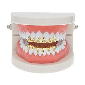 MCSAYS Hiphop Zähne Grillz Set (oben und unten) GANGSTER Zähne Grillz Reihe Tropfenform Gold / Splitter Farbe Zahnkappen für Männer / Frauen Geschenke