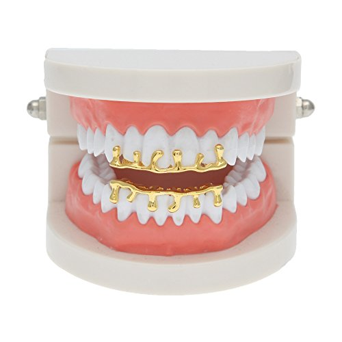 MCSAYS Hiphop Zähne Grillz Set (Top & Bottom) GANGSTER Zähne Grillz Reihe Tropfenform Gold / Splitter Farbe Zahnkappen Für Männer / Frauen Geschenke (Gold)