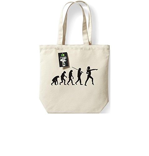 Fairtrade Stoffbeutel Evolution Gymnastik Tanz Akrobatik Bodenturnen Ballet Beutel, Shopper Umhängetasche , Farbe natur
