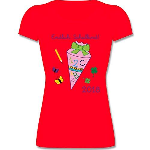 Einschulung - Endlich Schulkind 2018 Mädchen - 116 (5-6 Jahre) - Rot - F288K - Mädchen T-Shirt (Kinder Leichte 6 T-shirt)