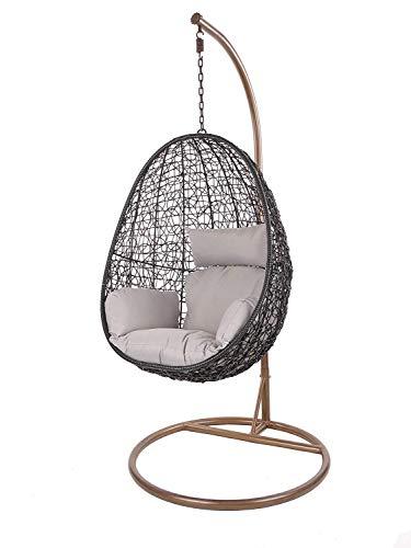 Kideo Swing Chair Hängesessel Hängestuhl Loungesessel Loungemöbel *Eyecatcher* (schwarz/grau)
