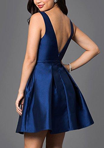 BRLMALL Damen Crew Neck Modest Fancy Short Abendkleid Marineblau