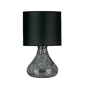 Premier Housewares Opulence Mosaic Glass Table Lamp with Black Shade - Black