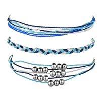 WEILYDF 3 Pcs Blue Vintage Hand-Woven Bracelet Creative Simple Jewellery Accessories Female Gift