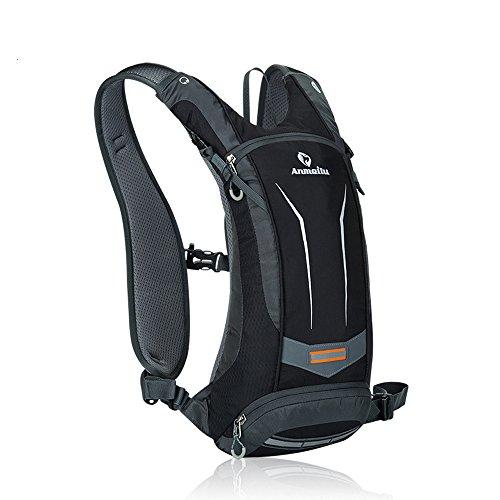 Fahrradrucksack mit Trinksystem 8L Licht Nylon Fahrrad Rücksack mit Handytasche und Wasserflasche Tasche (Schwarz)