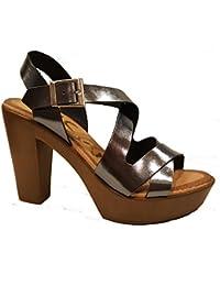 Oh my Sandals - Sandalias de tacón y plataforma - Piel billante - 3696 - Plomo