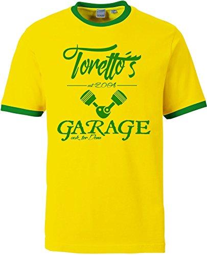 EZYshirt® Toretto´s Garage Herren Rundhals Ringer T-Shirt Gelb/Grün/Grün