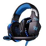 EasySMX M110 Casque Audio Ultraléger avec Câble de Tissu Renforcé Casque studio avec microphone et contrôle de volume compatible pour PC/Smartphones / MP4 / MP3 (Noir + Rouge)